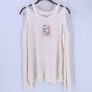 Pink Republic Ivory Ribbed Knit Sweater Large